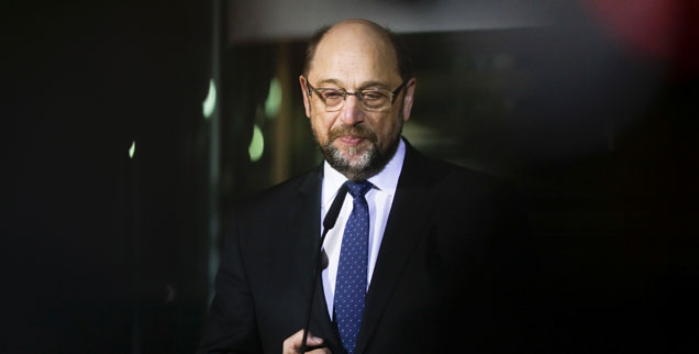 Martin Schulz, am Tag seines Rücktritts: Erst Messias, dann gekreuzigt. Die SPD spricht schon wenige Tage nach dem 13. Februar 2018 nicht mehr über den Mann aus Würselen. (Foto: pa/AP/Markus Schreiber)