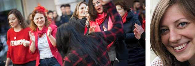 """Heute ist internationaler Frauentag. Höchste Zeit, endlich Schönes und Sinnvolles zu tun. Was das ist, kann jede Frau selbst entscheiden. Links im Bild tanzen Italienerinnen aus Protest gegen Gewalt an Frauen. """"Wenn ich nicht tanzen kann, ist es nicht meine Revolution"""", sagte die Friedensaktivistin, Feministin und Anarchistin Emma Goldman. Recht hat sie, findet Publik-Forum-Redakteurin Anne Strotmann (rechts)"""