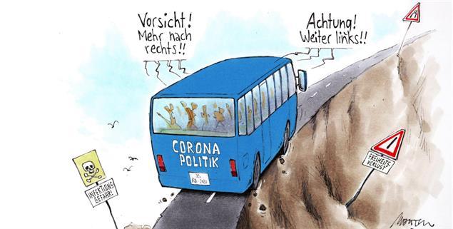Gratwanderung Corona (Zeichnung: Mester)