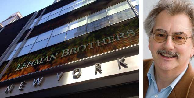 Lehman Brothers-Zentrale in New York, fotografiert am 15. September 2008: Zehn Jahre nach der Finanzkrise wird weltweit gezockt wie eh und je, kritisiert Wolfgang Kessler (rechts). (Fotos: pa/Frances M. Roberts; privat)