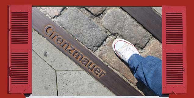 Besondere Steine und ein Metallstreifen in Berlin zeigen, wo die Mauer früher stand. Heute ist sie zum Glück nur noch Erinnerung. Hans-Jürgen Röder berichtet von Zeiten, als das noch anders war. Er selbst wurde damals zum »Grenzgänger« (Fotos: Jonathan Stutz/Fotolia.com, mod.; pa/Fokken)