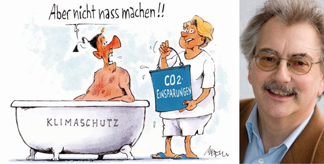 Wolfgang Kessler: »Je teurer fossile Energie, desto billiger ist der Klimaschutz« (Karikatur: Gerhard Mester; Foto: Publik-Forum)