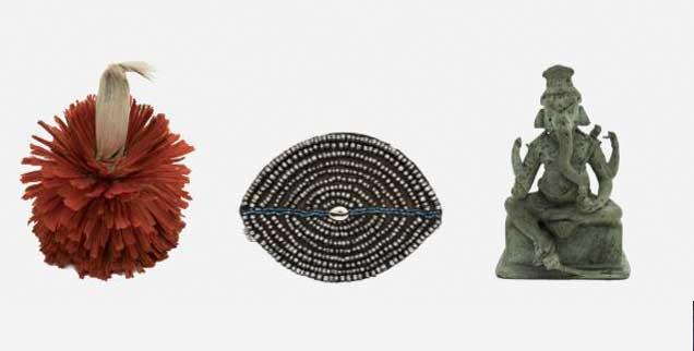 Ungeklärte Herkunft: Ein Kopfschmuck aus Kamerun, ein Perlenbesatz aus Namibia, eine Ganesha-Figur aus Java (von links nach rechts). (Fotos:  Sammlung Weltkulturen Museum/Wolfgang Günzel)
