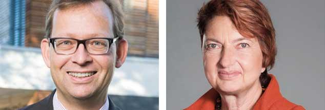 Sozialrechtler Thorsten Kingreen (links) unterstützt den Vorschlag: Höhere Rentenbeiträgen für Kinderlose! Die Gewerkschafterin Annelie Buntenbach (rechts)  ist dagegen. (Fotos: Pressebild Uni Regensburg; Pressebild DGB/Neumann)