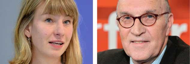 """Bringen Atomwaffen mehr Sicherheit? Anne Balzer (links) sagt: """"Nein!""""  Christian Hacke (rechts) sagt: """"Ja!"""" (Fotos: ICAN; pa/WDR)"""