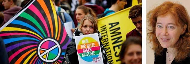 Teilnehmer einer Gegendemonstration gegen die Ausschreitungen Rechter in Chemnitz. »Wir müssen uns den Herausforderungen stellen«, sagt die Chemnitzer Pfarrerin Dorothee Lücke (Fotos:pa/Reuters/Hanschke; privat)