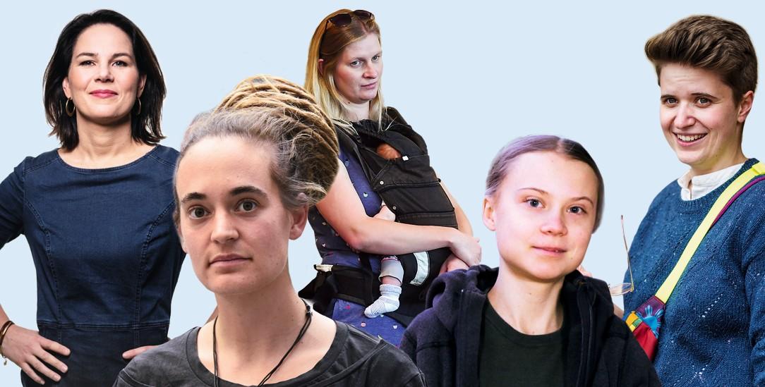 Hoffnungsträgerinnen: Annalena Baerbock, Carola Rackete, Madeleine Henfling, Greta Thunberg und Anna-Nicole Heinrich (Fotos: Laif/Dominik Butzmann; pa/Dursun Aydemir; pa/Kalaene; pa/Galuschka; Epd/Lohnes)