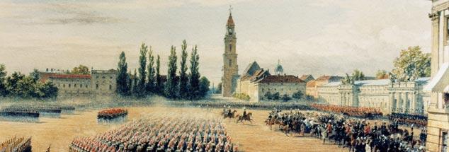 Der Wiederaufbau ist gewissermaßen beschlossene Sache: Historische Ansicht der Garnisonkirche in Potsdam im 19. Jahrhundert, hier zu sehen im Ensemble mit dem Stadtschloss. (Foto des Aquarells von George Housmann: pa/akg)