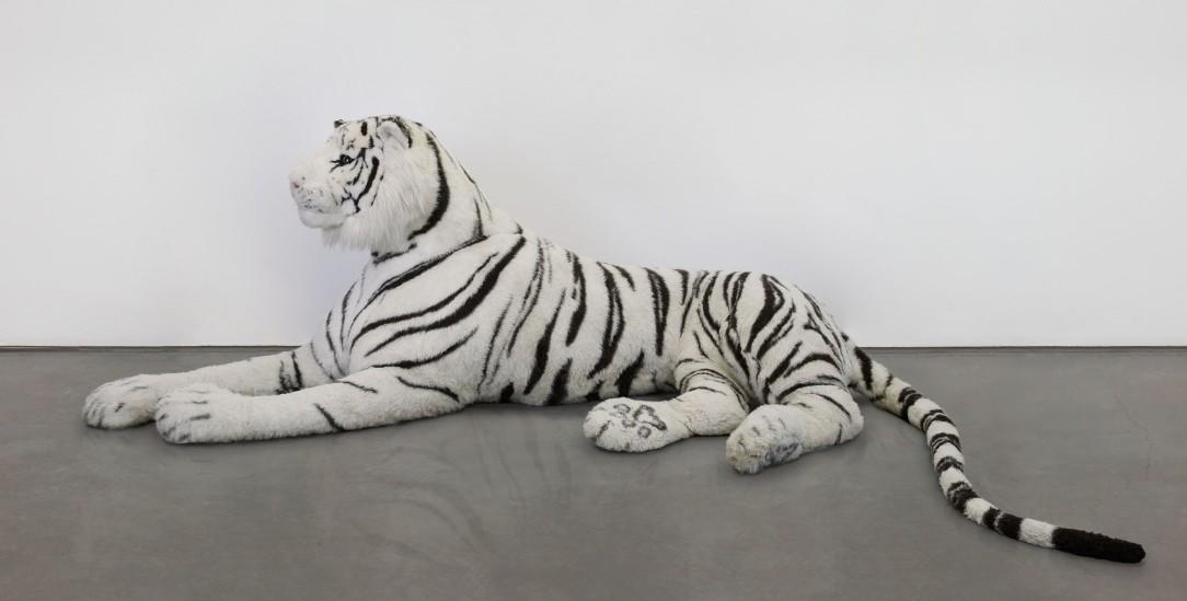 Harmloser Kuscheltiger? »White Tiger« (2021) von Gerrit Frohne-Brinkmann. (Foto: Volker Renner, Kunsthalle Emden)