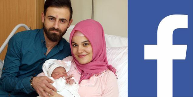 Die kleine Asel mit Mama und Papa: Das Foto entstand in einem Wiener Krankenhaus Anfang 2018. Es zog eine Shitstorm nach sich, weil die Mutter Kopftuch trägt. Facebook löschte daraufhin Posts zu Asel. Darunter auch massenhaft Glückwünsche. (Foto: KAV/Votava; Logo: Facebook)