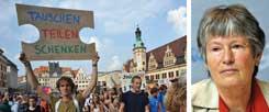 Es kann zum Gewinn für alle werden, wenn die Wirtschaft schrumpft, meinten kürzlich die Teilnehmer der Leipziger Degrowth-Konferenz, die mit einer großen Demonstration endete. Ökonomin Angelika Zahrnt (rechtes Bild) erläuterte in Leipzig ihre Vorstellung von einer Postwachstumsgesellschaft  (Fotos: Klimagerechtigkeit Leipzig; pa)