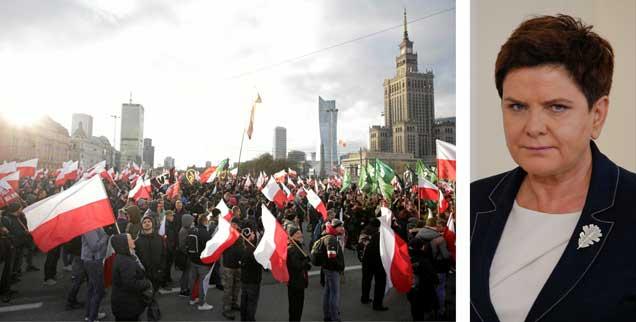 Ministerpräsidentin Beata Szydlo (rechts) legte gegenüber den Rechten bisher eine wohlwollend-duldende Haltung an den Tag. Auch am Nationalfeiertag Mitte November kritisierte sie die wütenden Nationalisten nicht. (Fotos: PA/Arriens/NurPhoto; Reuters/ Agencja Gazeta/Adam Stepien)