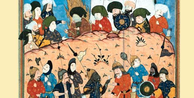 Die Schlacht bei Kerbela, dargestellt in einer Miniatur, bei der es 680 um die Führung der Muslime ging: Der Streit zwischen Sunniten und Schiiten geht auf den Konflikt aus dieser Zeit um die Nachfolge des Propheten Mohammed zurück (Foto: pa/akg)