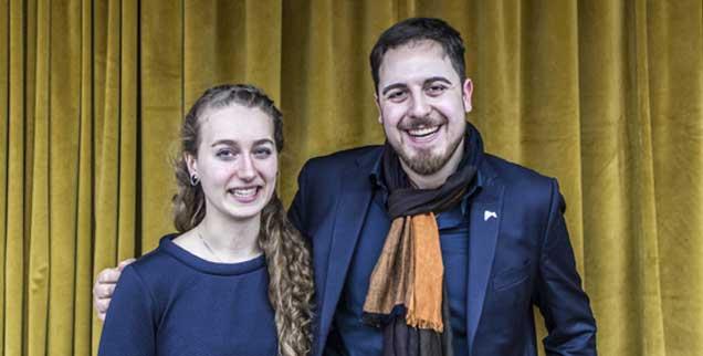 Zwei junge Katholiken: Magdalena Hartmann gehört der Schönstattbewegung an, Thomas Andonie ist Vorsitzender des Bundes der Deutschen Katholischen Jugend, auf Einladung des Papstes diskutierten sie mit vielen anderen  in Rom über die Wünsche der Jugend an die Kirche (Foto: kna)