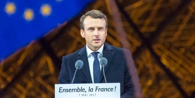 Wahlsieger Emmanuel Macron: Er konnte die Rechtsextreme Marine Le Pen von der Macht fernhalten, doch die Probleme, die ihr Millionen Wähler zugetrieben haben, sind damit noch nicht gelöst (Foto: pa/Boutin)