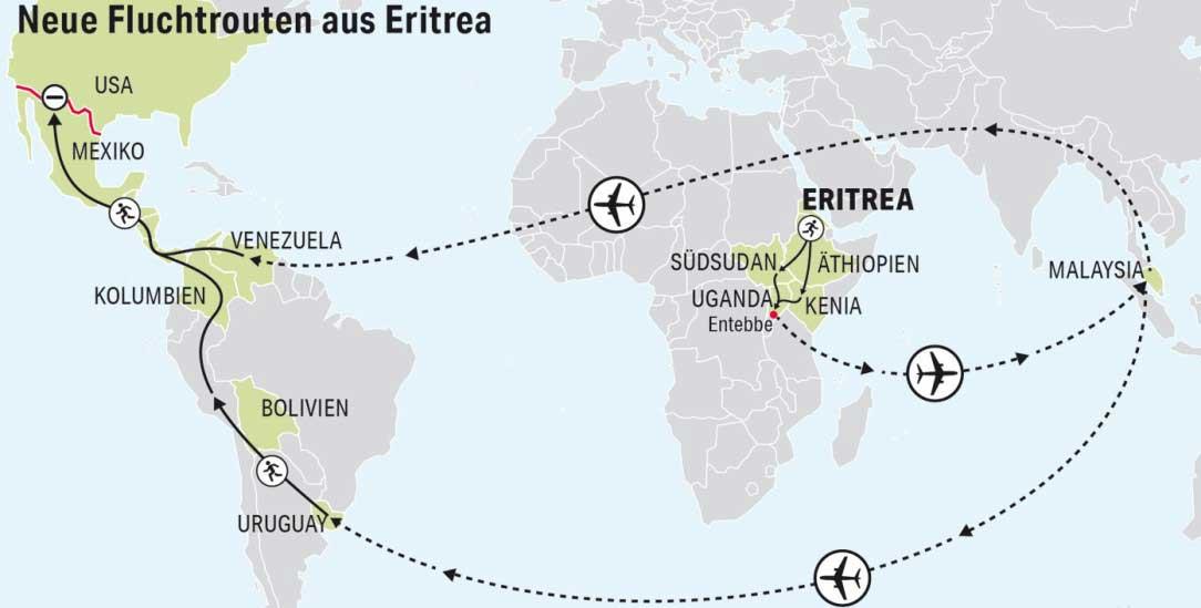Weiter und teurer: Neue Fluchtrouten führen von Eritrea über Uganda, Malaysia und Uruguay nach Mexiko (Grafik: infotext-berlin.de)