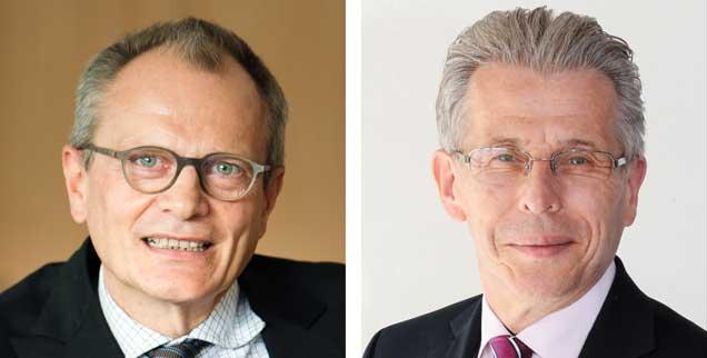 Diakonie-Präsident Ulrich Lilie (linkes Bild) meint, dass der Familiennachzug erleichtert werden sollte, Uwe Lübking, Beigeordneter beim Städte und Gemeindebund, warnt davor (Fotos: pa/Burgis; Link/Frabtonwerk)