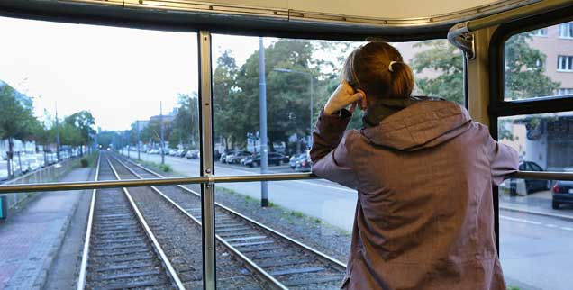 Alles still - und dann hört man wirklich jedes Geräusch: Mit der Tram of Silence unterwegs in Frankfurt am Main. (Foto: Rohnke)