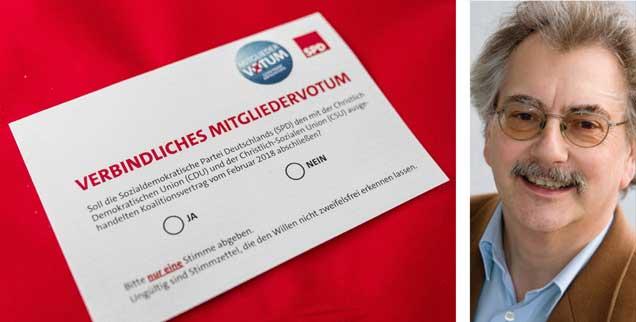 66 Prozent für die GroKo: Das Mitgliedervotum der SPD gibt den Sozialdemokraten Rückenwind für die Regierungsarbeit. »Aber das garantiert noch keinen politischen Aufbruch«, sagt Wolfgang Kessler (rechts). (Fotos: pa/Sachelle Babbar; privat)