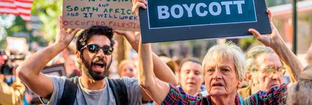 In vielen Ländern wird die Forderung nach einem Boykott Israels wegen seiner Politik gegenüber den Palästinensern erhoben, hier bei einer Demonstration in den USA (Foto: pa/McGregor/Pacific Press)