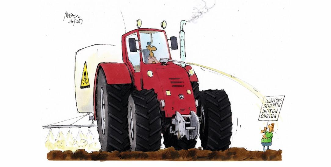 Falsches Feindbild: Umweltschutz und Bauerninteressen sollten nicht als Gegensatz gesehen werden (Zeichnung: Mester)