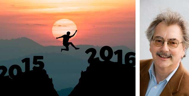 Der Sprung ins Neue Jahr: Ohne Mut gelingt er gerade diesmal nicht, meint Wolfgang Kessler (rechts). (Fotos: www.fotolia.de/fongleon356; privat)