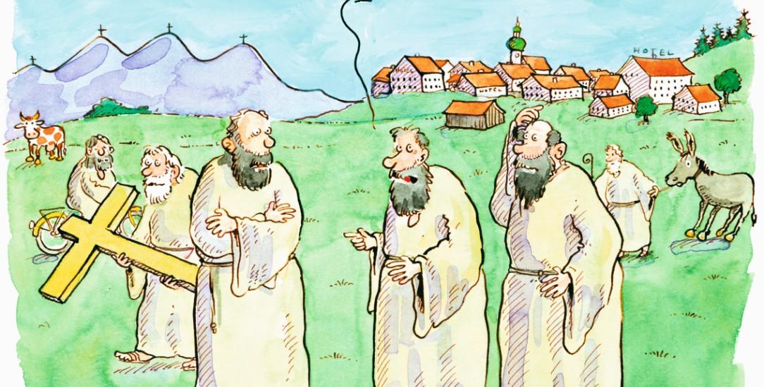 Neulich in Oberammergau: »Ich finde es auch total wichtig, dass wir Randgruppen einbeziehen, aber wo sollen wir auf die Schnelle einen schwulen schwarzen Jesusdarsteller herbekommen?« (Zeichnung: Johann Mayr)