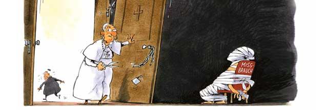 Ein Papst räumt auf: Franziskus setzt sich für die vielen Kinder ein, die von Priestern missbraucht wurden. Aber reicht das, was er tut? (Zeichnung: Mester)