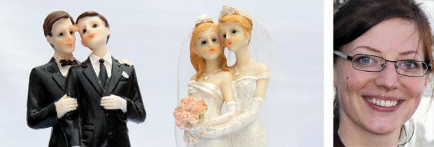 Heiraten, mit allem Drum u nd Dran: Das können ab sofort auch gleichgeschlechtliche Paare in Deutschland. Anne Strotmann (rechts) findet das gut - auch wenn sie die Zivilehe für ein restlos überhöhtes Ideal hält. (Fotos: pa/dpa/Sebastian Kahnert; Publik-Forum)