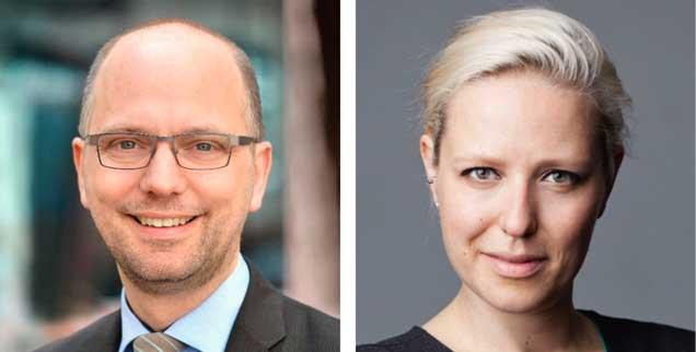 Soll man Facebook jetzt den Rücken kehren? Hamburgs Justizsenator Till Steffen (links) sagt: Ja! Die Hamburger Journalistin Juliane Leopold (rechts) findet: Nein! (Fotos: Pressebild Justizbehörde; Pitzke)