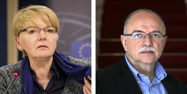 Engagieren sich für parteiübergreifende Zusammenarbeit linker Kräfte im EU-Parlament: Gabi Zimmer (Die Linke) und Dimitris Papadimoulis (Syriza)(Fotos: pa/Dabkowski; pa/Mehmet)