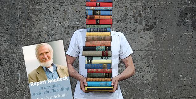 """Der Menschenrechtler Rupert Neudeck verstarb vor wenigen Wochen. Jetzt ist sein letztes Werk erschienen: """"In uns allen steckt ein Flüchtling."""" (Hintergrundfoto: luxuz:.photocase.de)"""
