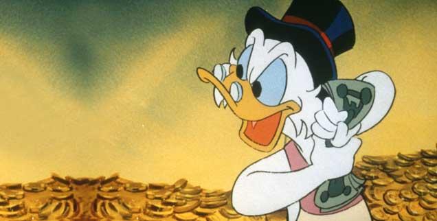 Noch mehr rausquetschen aus dem großen Geld: Was Dagobert Duck kann, kann Trumps Regierungs-Mannschaft schon lange. (Foto: pa/United Archives/IFTN)