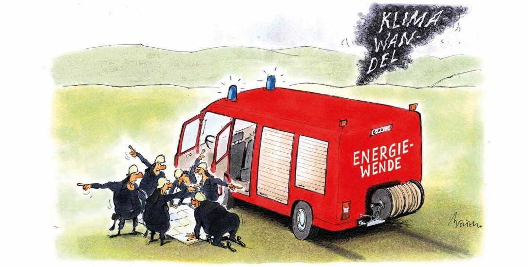 Alle wollen Klimaschutz. Doch auf welchem Weg ist Klimaneutralität bei den CO2-Emissionen am besten zu erreichen?. Da gehen die Meinungen auseinander. (Zeichnung: Mester)
