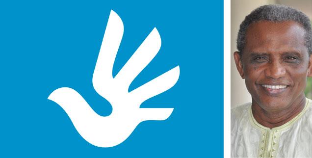 Sind die Menschenrechte universell? Der US-Jurist Abdullahi A. An-Naim (rechts), Spezialist für internationales Recht und Menschenrechte, sagt: »Nein!« Westliche Macht- und Weltverständisse machten die Erklärung der Menschenrechte zur Farce. (»Menschenrechtslogo der Vereinten Nationen«, Grafik: Predrag Stakic; Foto: privat)