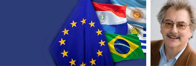 Noch in diesem Jahr will die EU-Kommission einen Freihandelsvertrag mit den Mercosur-Staaten Brasilien, Argentinien, Paraguay und Uruguay abschließen. Mercosur – das steht für »Mercado Común del Sur«, den »Gemeinsamen Markt Südamerikas«. Den großen Haken des Vertrags entdeckt Wolfgang Kessler (rechts). (Grafik: Info-Broschüre der Europäischen Kommission/ec.europa.eu; Foto:privat)