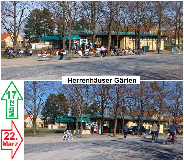 Herrenhäuser Gärten in Hannover vorher und nacher (Foto: Weil)