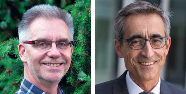 Digital zum Arzt? Der Internist Harald Borgmann (linkes Bild) erklärt, warum er dagegen ist. Josef Mischo, Chirurg, hält Telemedizin dagegen für eine sinnvolle Ergänzung (Fotos: privat; aertzekammer-saarland.de)