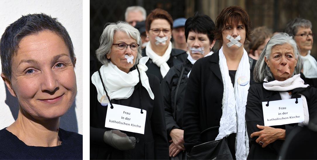 Andrea Voß-Frick (links) sagt: »Die Aktion Maria 2.0 geht weiter!«. Im Mai 2019 streikten bundesweit Frauen (und auch einige Männer) gegen die Zustände in der römisch-katholischen Kirche, unter anderem, wie im Bild zu sehen, vor dem Ulmer Münster. (Fotos: privat;  pa/dpa/Karl-Josef Hildenbrand)