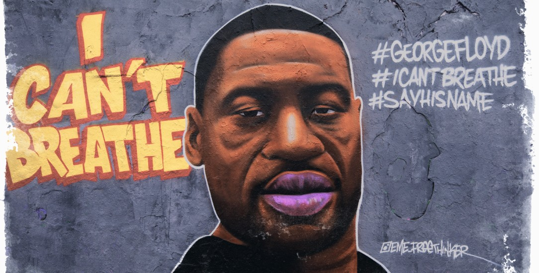 Weltweiter Aufschrei gegen Rassismus: Dieses Graffiti in Berlin erinnert an den US-Bürger George Floyd, der durch Polizeigewalt starb. (Foto: pa/Hosbas / Anadolu Agency)