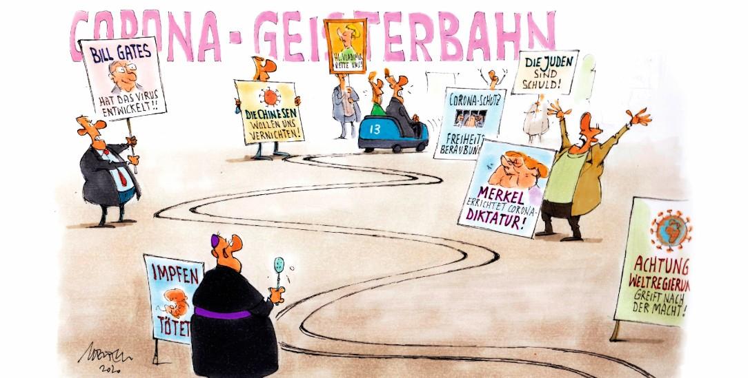 Auf »Anti-Corona-Demos« stößt man auf Unheimliches (Zeichnung: Mester)