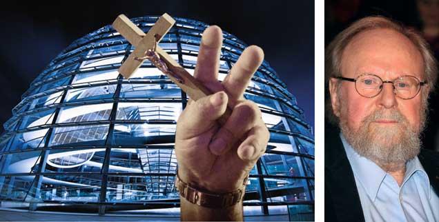 Kann man »mit Gott Staat machen«? Bundestagspräsident a. D. Wolfgang Thierse (rechts) sagt: »Ja!« (Foto: pa/dpa/Stephan Persch; Fotomontage-Fotos: iStock by getty/mbbirdy; pa/dpa/Grzegorz Michalowski)