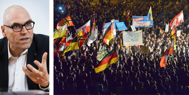Politologe Wolfgang Schroeder (links): »Die etablierten Parteien müssen sich stärker um eine alltagsnahe Kommunikation Gedanken machen - nicht nur um rationale Argumente. Es fehlt an einem Schuss Leidenschaft.« Rechts: AfD-Demonstration gegen Flüchtlinge in Erfurt: Starke Emotionen gegen  Fremde, Angst vor sozialem Abstieg (Fotos: pa/dpa/Martin Schutt; Schröder/Schulten)