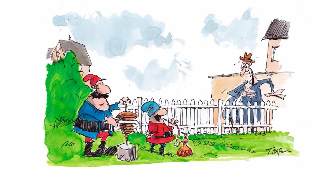 Werden multikulturell: Gartenzwerge (Zeichnung: Thomas Plassmann)