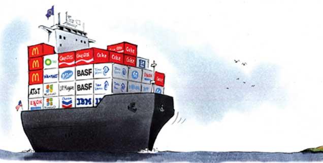 Ein Schiff wird kommen: Die Freihandelsabkommen TTIP, Ceta und Tisa sind auf dem Weg, mit teils dramatischen Folgen. (Zeichnung: Mester)