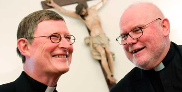 Kardinal Woelki, Kardinal Marx: Zwei Männer, zwei Meinungen. Lächeln! Morgen wird noch schlimmer! (Foto: pa/Dedert)