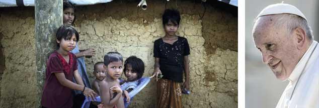 Rohingya im Flüchtlingscamp (links), ein zugewandter Franziskus (rechts): »Papst Dickkopf« hat offenbar auf den letzten Metern durchgesetzt, dass er Vertreter der verfolgten muslimischen Minderheit treffen wird. (Fotos: pa/AP Photo/Wong Maye-E; pa/Ciccia)