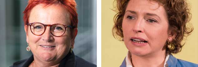 """Brauchen wir eine Frauenquote für die Parlamente? Elker Ferner (links) sagt: """"Ja!"""" Nicola Beer (rechts) """"Nein!"""" (Fotos: HC Plambeck; pa/Stein)"""