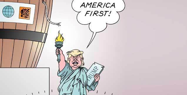 Ein Populist wird US-Präsident: Legt Donald Trump jetzt die Lunte an die Freiheit der Amerikaner? (Illustration:pa/Erl)