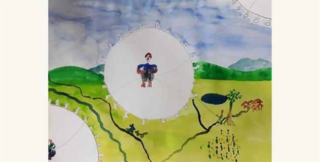 Quarantäne (Zeichnung und Foto: Anja Bendfeld)